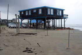Beach house on eroded beach